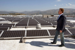 Solar Panels on Roof with Schwarzenegger